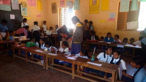 Students in Gubbi Taluk participating in Science Week organised by ILP along with Education Department, Govt of Karnataka.