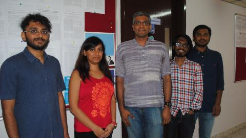 From left to right : Pushkara Ravindra, Prateeksha Varshney, Dr. Yogesh Simmhan,  Aakash Khochare & Siva Prakash Reddy