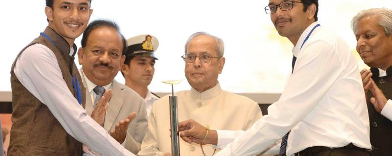 The Bellatrix Aeroscape team presented the award by President of India, Shri Pranab Mukherjee.