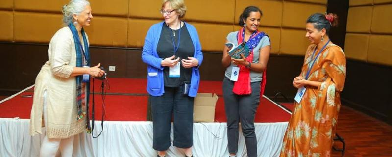 Prajval Shasti and Megan Urry release the book 31 adventures in Indian Science with authors Nandita Jayaraj and Aashima Freidog